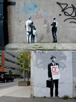 "ifilikeityoulikeit:  thedailywhat:  Street Art of the Day: Brand new Banksy pieces spotted in Toronto. One more here. [hypebeast.]  * this will make many people in the states & other countries ""Google"" Toronto & then they will forget about it lol  *banksy"