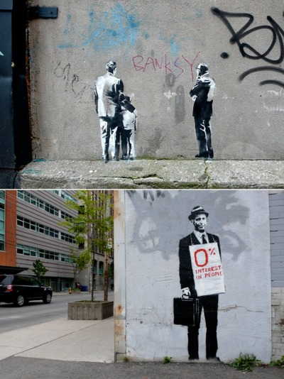thedailywhat:  Street Art of the Day: Brand new Banksy pieces spotted in Toronto. One more here. [hypebeast.]  Okay, time to hit the streets with my camera.