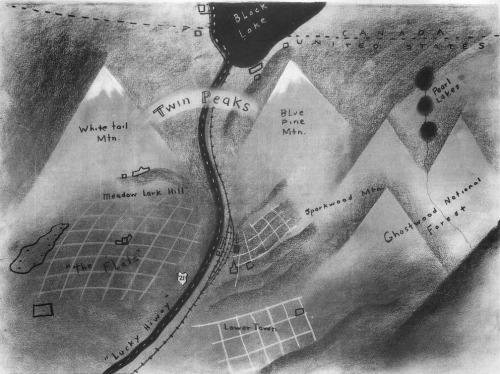 David Lynch's map of Twin Peaks.