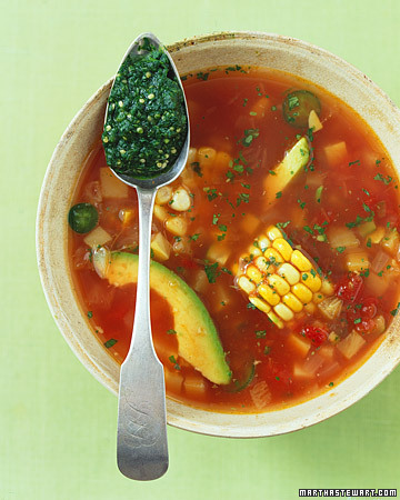 From the vegetarian artislovely comes this recipe for Mexican Fiesta Soup, which looks delicious and seems totally appropriate for a blustery spring day. Ingredients4 tomatillos, peeled and rinsed2/3 cup fresh cilantro leaves, packed, rinsed well2 garlic cloves minced2 tablespoons freshly squeezed lime juice1 small white onion, diced1 jalapeno, diced, plus more sliced for garnish (optional)1 teaspoon ground cuminOne 28 1/2-ounce can whole peeled tomatoes (about 8 tomatoes), drained and crushed3 ears corn, quartered4 cups vegetable stock1/2 ripe avocado, pitted, cut into 1/4-inch-thick slicesNonstick cooking sprayFreshly ground pepper Directions1. Preheat oven to 375 degrees. Place tomatillos on a small rimmed baking sheet. Roast in oven, turning once midway through, until they are softened and slightly charred, about 25 minutes. Remove from oven, and let cool slightly. Transfer to the bowl of a food processor; add cilantro, one garlic clove, and lime juice. Process until smooth and combined; set aside. 2. Lightly coat bottom of a large nonstick saucepan with cooking spray. Add onion, remaining garlic clove, and diced jalapeno; cook, stirring occasionally, over medium heat until onion is softened, about 7 minutes. Add cumin, tomatoes, corn, and chicken vegetable stock. Bring liquid to a boil; reduce heat, and simmer until vegetables are tender, 12 to 15 minutes. 3. Remove from heat; stir in 3 tablespoons reserved tomatillo mixture, and season with pepper. Add sliced avocado. Ladle into serving bowls; garnish with jalapeno slices, if desired. Serve with remaining tomatillo pesto Your Vegansaurus knows that some of you have issues with cilantro, so for you we recommend substituting some tarragon, a pinch of rosemary, maybe a pinch of thyme—all fresh!—and a couple extra garlic cloves. Try it and see! [photo from Whole Living via artislovely]