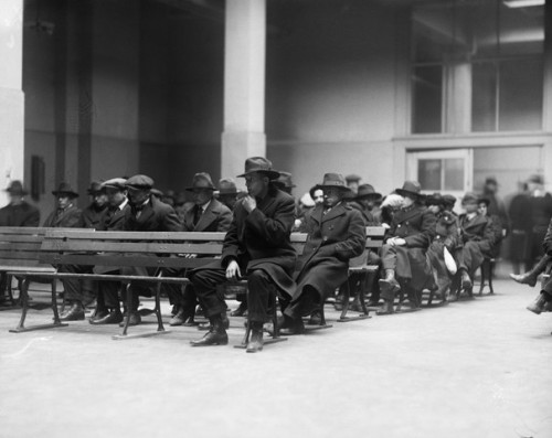 """Anarchists, reds, and radicals"" being held on Ellis Island in advance of deportation as a result of the Palmer raids. ""In order to protect government interests"", J. Edgar Hoover sidestepped the arrested's rights to an attorney."