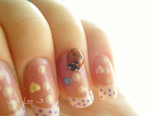 Purple Polka Dot French Tips With Big Dots And Mini Hearts Photographed With A Lucky Ladybug!  :)