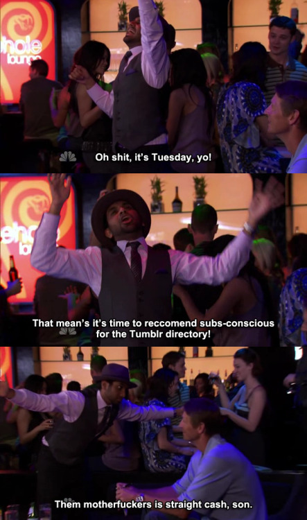 You heard Tom Haverford- we're straight cash. Click here to recommend subs-conscious for the Tumblr directory under Entertainment!