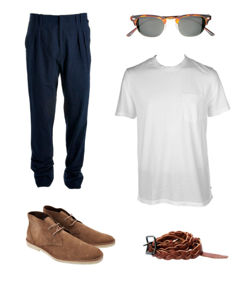 Look of the Week Christophe Lemaire: Double Pleated Chino Pierre Hardy: Desert Boots Hazelnut Moscot: Yukel Tortoise James Perse: T-Shirt Acne: Braided Belt