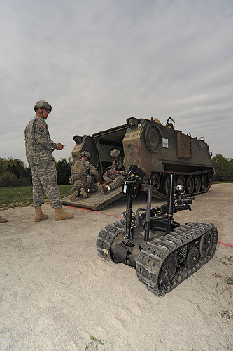 Capt. Joe Byrnes, 554th Engineer Battalion, prepares a Talon robot during the IED 9-Line event of the 2010 Best Sapper Competition, April 19, at Fort Leonard Wood, Mo. Byrnes and his teammate, Capt. Jason Castro won the this year's competition.