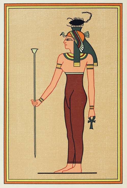 The goddess Serqet. From The gods of the egyptians, vol. 2 by E. A. Wallis Budge, Chicago, 1904. Via archive.org.