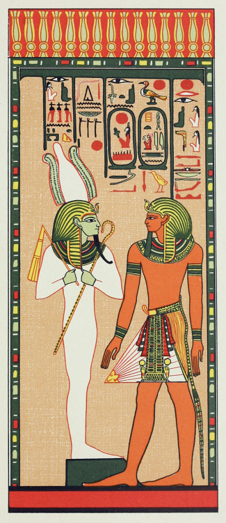 King Seti adressing Osiris Khent-Amentet. From The gods of the egyptians, vol. 2 by E. A. Wallis Budge, Chicago, 1904. Via archive.org.