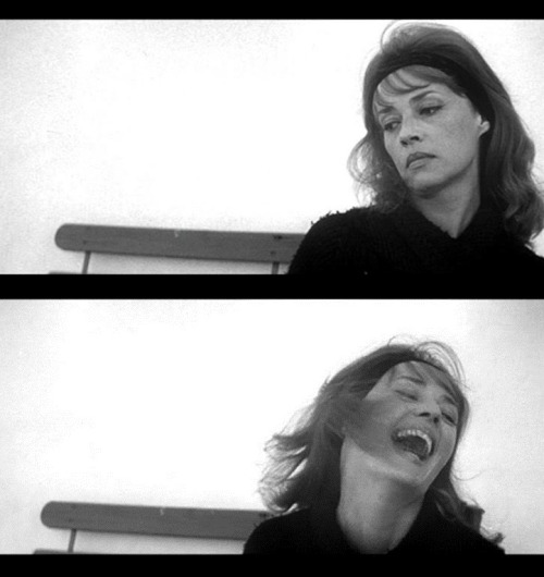 "Jeanne Moreau in Jules & Jim (1962, dir.  Francois Truffaut) ""I never laughed before I met you two. I always looked like this. But that's over for good. Now it's like this."""