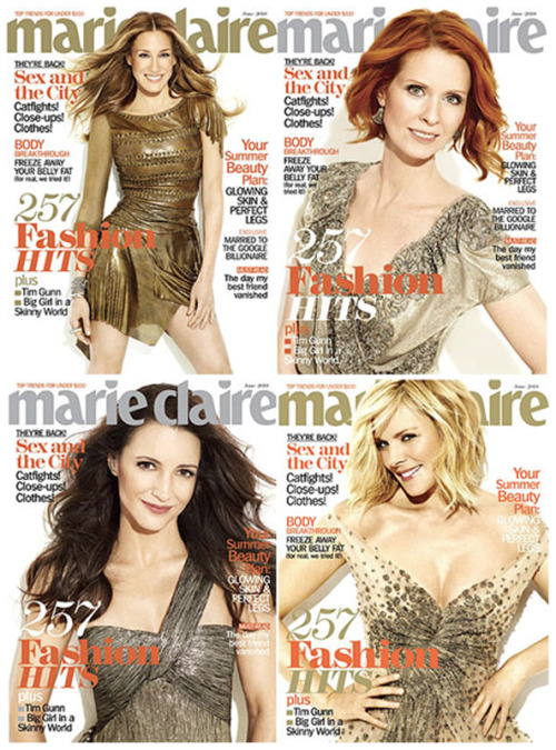 autostraddle:  Marie Claire: Sarah Jessica Parker, Cynthia Nixon, Kristen Davis & Samantha Jones  PLEASE tell me there are legit 4 different covers.  i WILL buy them all.