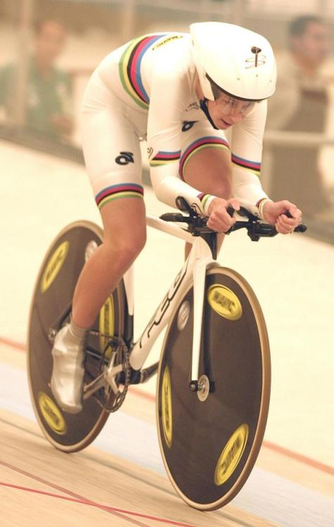 A New Individual Pursuit World Record!  Today at the Pan American Track Championships, reigning World Champion Sarah Hammer (USA) destroyed the Women's 3,000 m Individual Pursuit World Record during the qualifying rounds.  The previous record was held by New Zealand's Sarah Ulmer at 3:24.537 since August, 2004.  Hammer beat it by over two seconds, clocking in at 3:22.269.  Congratulations, Sarah!  Read full article at Cycling News.