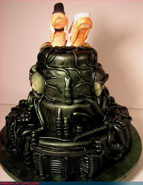 H.R.Giger Wedding Cake with Chestbursters toppers (via Twitpic)