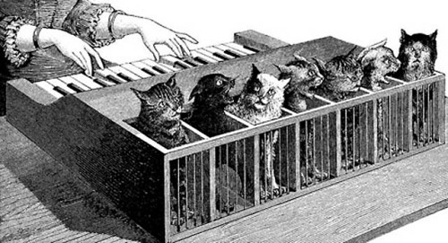 The Katzenklavier or Cat Piano, designed by Athanasius Kircher