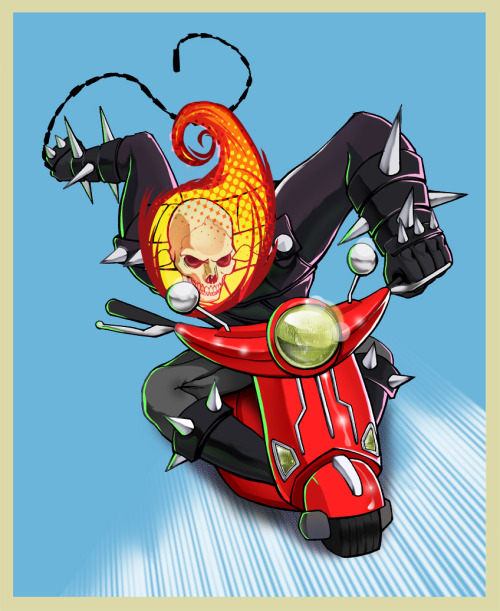 Ghost  Rider doesn't always have the time to get to his trusty old chopper. Once in a while all that is left is a… Vespa scooter!? haha this is too much fun. GHOST RIDER…. vespa? by Marco D'Alfonso/m7781 (deviantART)