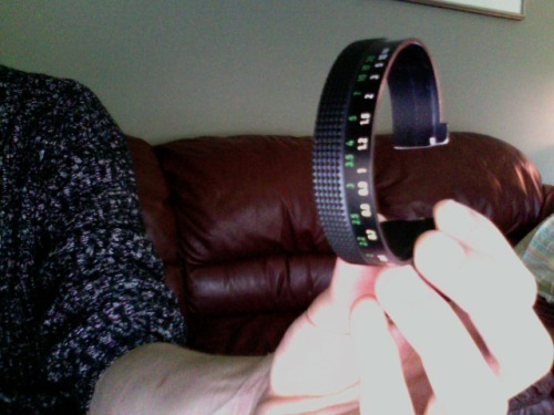 Made a new bracelet out of an old lens' focus ring. Ironically I don't have a digital camera to take a nice picture of it.