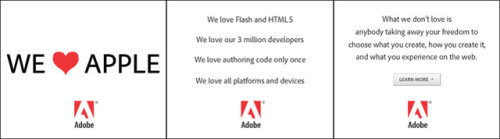 Adobe's not done yet. They still want to keep their Flash technology alive so they release a new ad campaign. Those ads are placed on various websites and most certainly created in Flash.