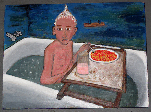 "GUMMO FAN ART Artist EVIL TELEPATHIC MONKEY has a series of 7 paintings of stills from Harmony Korine's Gummo.  They were shown at CRANKY YELLOW'S METH & HOT DOGS SHOW, celebrating ""characters that are unscrupulous, misfits, down and dirty, lowbrow, uncivilized, junkies, screw-ups and bums"".  There is also an entire flickr group pool dedicated to Gummo fan art.  who knew? shout outs: Harmony Korine is currently promoting his most recent film TRASH HUMPERS CRANKY YELLOW is a concept shop in St. Louis, MO, and is a staple of Cherokee St."