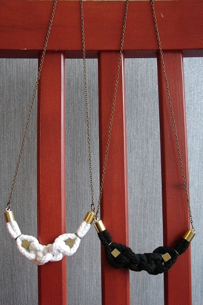 knot with golden cube / handwoven rope and brass necklace in black in white