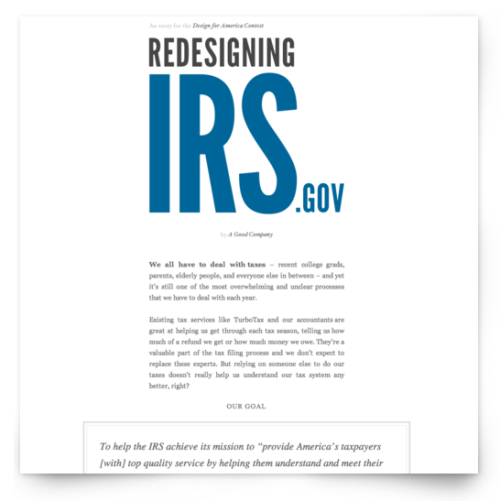 Redesigning IRS.gov (via theleagueofmoveabletype)