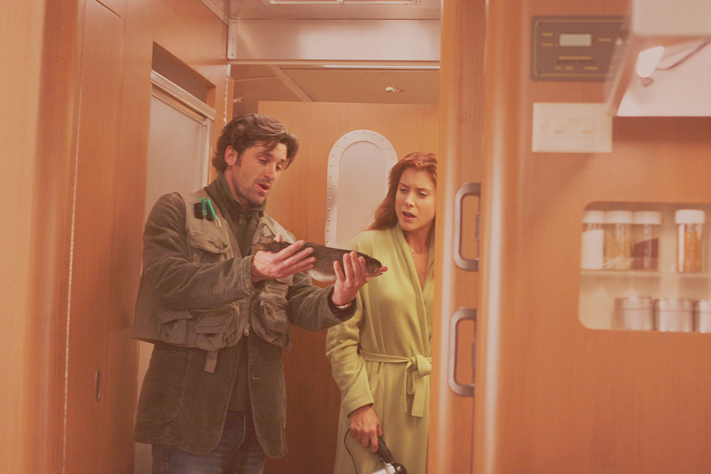 Addison: I hate this freaking trailer. Derek: Fine then. No trout for you! (via drameliashepherd, blackriddle)