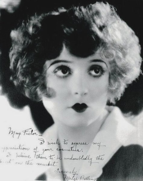 "katielouiseford:  mothgirlwings:   mothgirlwings:  Madge Bellamy -Signed photo to Max Factor:  ""I wish to express my appreciation of your cosmetics.  I do believe them to be undoubtedly the best on the market.""  c. 1920s"
