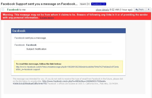 Now, I found this Facebook email in my Spam folder.