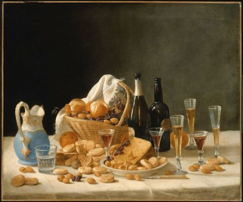 John F. Francis Still Life with Wine Bottles and Basket of Fruit 1857