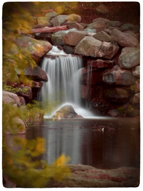 Fallkill Waterfall: Another waterfall in Prospect Park Photographed with an Olympus E-P2 with a Nikon 50mm f1.4 lens. Edited on an iPad using photoshop mobile, photogene, and Lo-Mob.