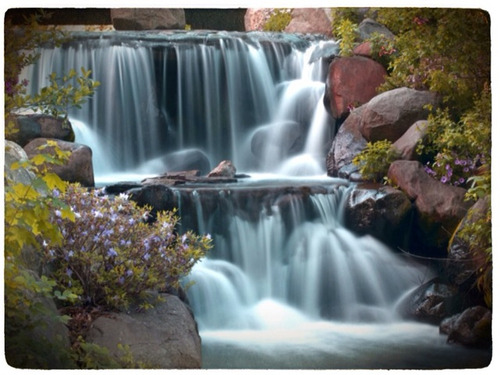 Audubon Waterfall: Waterfalls of Prospect Park in Brooklyn NY. I'm not sure of the proper name of this waterfall, but it is located right by the Audubon Center in the park.  Photographed with an Olympus E-P2 with a Nikon 50mm f1.4 lens. Edited on an iPad using photoshop mobile, photogene, and Lo-Mob.