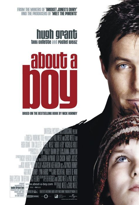 About A Boy, 2002. Starring Hugh Grant, Rachel Weisz, Toni  Collette, Nicholas Hoult, Annabelle Apsion. (Director: Chris Weitz, Paul  Weitz)———————————————————-Plot: Will Lightman (Grant)  is a rich, hip, irresponsible Londoner who, in search of available  women, invents an imaginary son and starts attending single-parent  meetings — confident in both parties' inability to make a commitment.  But when Will meets Marcus (Hoult), the troubled 12-year-old son of a  depressed single mother (Collette), a quirky and unexpected friendship  blooms as both Will and Marcus help each other grow up.
