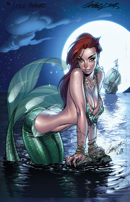 Disney Princesses drawn in comic book style.