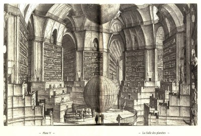 "Etching by Eric Desmazieres for The Library of Babel by Jorge Luis Borges (source: boiteaoutils)  ""Through the years, a man peoples a space with images of provinces, kingdoms, mountains, bays, ships, islands, fishes, rooms, tools, stars, horses, and people. Shortly before its death, he discovers that the patient labyrinth of lines traces the image of his own face."" — Jorge Luis Borges  ""The Library of Babel. This story is a conscientious description of the library as ""a sphere whose exact center is any one of its hexagons and whose circumference is inaccessible,"" that host the totality of books composed with all letter combinations possible. The Library is thus questioning the notion of the infinite and its paradoxical spatial application. I intentionally write ""paradoxical"" because the infinite seems to me as illustrating a conflict between mathematics and physics. The latter can only suggest the infinite without actually describing it whereas, mathematics is a language based on the idea of the infinite. Returning to our field of study, architecture originally belongs to the universe of physics; computation tends to insert mathematics into it and therefore the notion of the infinite.The only limit to an architecture generated by mathematics is the finite characteristics of its generator: the computer. However, simply the idea of relating architecture to one or several equations is to allow itself to acquire an infinite dimension. Such an idea obviously tackles the issue of its physicality and therefore allows architecture to exist through other means than within the finite amount of the physical world's particles.In the same way Borges succeeded to create an infinite world thanks to words and to the reader's imagination, computation allows the creation of an infinite architecture thanks to its relation to mathematics.""  ""The universe (which other calls the Library) is composed of an indefinite and perhaps infinite of hexagonal galleries, with vast air shafts between, surrounded by very low railings. From any of the hexagons one can see, interminably, the upper and lower floors. The distribution of the galleries is invariable. Twenty shelves, five long shelves per side, cover all the sides except two; their height, which is the distance from floor to ceiling, scarcely exceeds that of a normal book case. One of the free sides leads to a narrow hallway which opens onto another gallery, identical to the first and to all the rest. To the left and right of the hallway there are two very small closets. In the first, one may sleep standing up; in the other, satisfy one's fecal necessities. Also through here passes a spiral stairway, which sinks abysmally and soars upwards to remote distances. (…) And yet those who picture the world as unlimited forget that the number of possible books is not. I will be bold enough to suggest this solution to the ancient problem: The Library is unlimited but periodic. If an eternal traveler should journey in any direction, he would find after untold centuries that the same volumes are repeated in the same disorder—which, repeated, becomes order: the Order. My solitude is cheered by that elegant hope."" — Jorge Luis Borges, The Library of Babel,  Boston: David R. Godine, 200, Ficcionnes (1949), Rayo 2008.  — Posted by Léopold Lambert in Computational labyrinth or Towards a Borgesian Architecture"