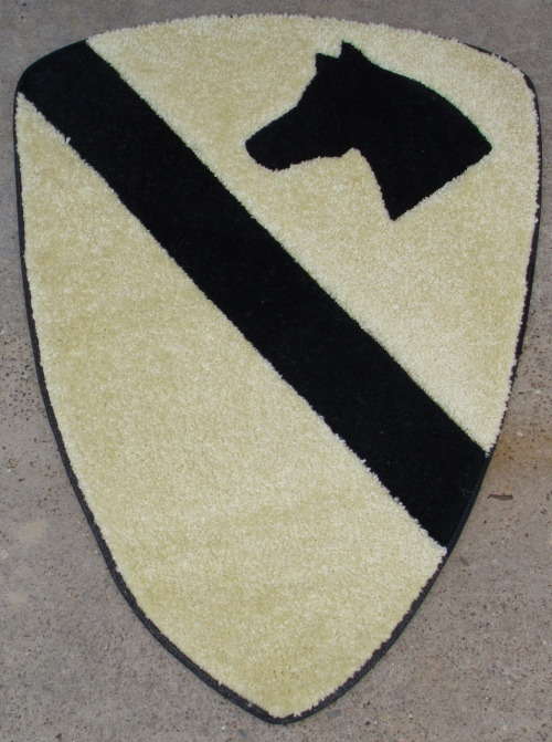 "A 1st Cav patch rug. The dimensions are 2' wide by 3' tall. Congressional Medal of Honor recipient Bruce Crandall has one. If you want to see why he got the honor, watch the movie ""We Were Soldiers""."
