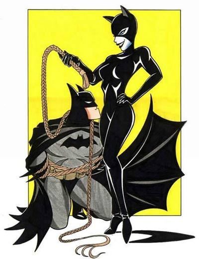 pigtailsandcombatboots:  Catwoman and Batman by ~BatgirlofGotham  Bad kitty..