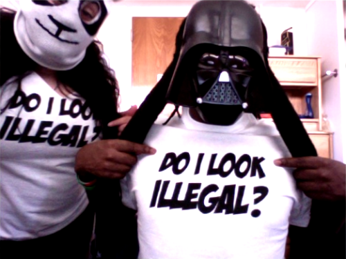 abhor & darthdream Spent the day rockin' our shirts all around campus. ;)  abhor, you need to start selling these shirts, for real.