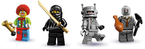 LEGO Minifigures - don't care much about lego clowns, but lego ninjas, robots and zombies, maan where was this stuff when i was a kid? this is just not fair!