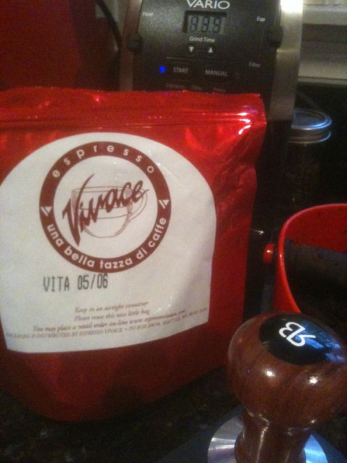My tools of the morning. Espresso Vivace Vita. Yummy.