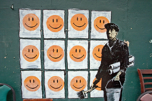 zendogged:jacobpatterson:stencils:Banksy - Smile (by f.trainer)Banksy is doing way too much work lately. While he was on the Best Coast all of his work was inspiring and clever. Now he is just pushing it…I haven't seen anything from him on East of California that is interesting (save for like three pieces). He is trying way too hard to get up in the States.This is decent, but nowhere near as good as his other stuff!
