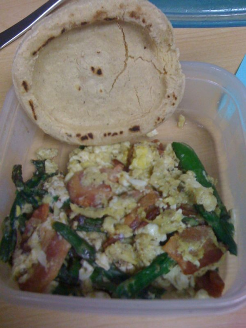 Breakfast was eggs with asparagus and bacon. Oh and a sope.