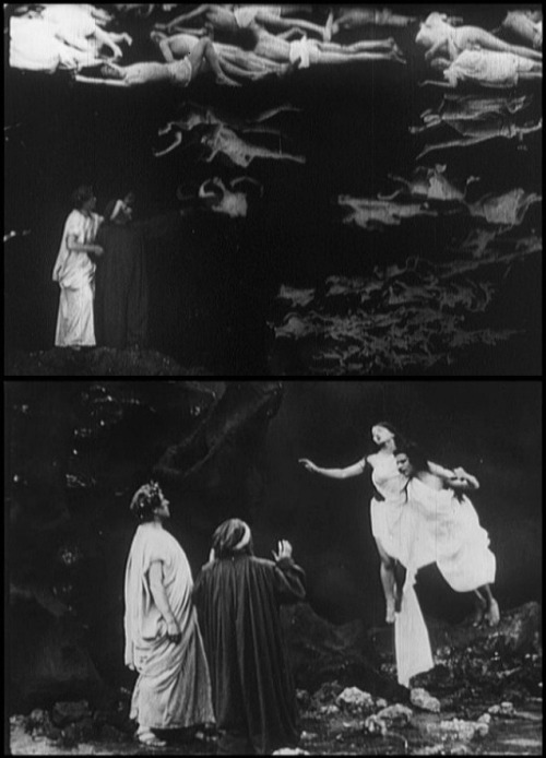 L'Inferno (1911, dir. Giuseppe de Liguoro) The hurricane of Hell in perpetual motion                                             Sweeping the ravaged spirits as it rends, Twists, and torments them. Driven as if to land, They reach the ruin: groaning, tears, laments, And cursing of the power of Heaven.     I learned They suffer here who sinned in carnal things— Their reason mastered by desire, suborned. As winter starlings riding on their     wings Form crowded flocks, so spirits dip and veer Foundering in the wind's rough buffetings, Upward or downward, driven here and     there With never ease from pain nor hope of rest. As chanting cranes will form a line in air, So I saw souls come uttering cries—wind-tossed, And lofted by the storm. -Canto V, The Divine Comedy: Inferno