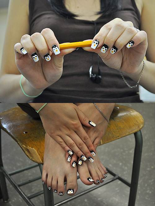 christyye:  Nails of the week: Penguins! Cuddly little creatures they are…(: photos by miss. habin cho