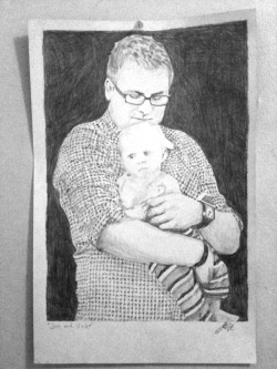 Little drawing I made of my friend Jon and his niece. Pencil on paper.
