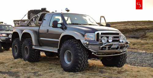 "One of the most beautiful modified Ford F350 you will ever see.The Icelanders know how to do it, thats for sure… Lets modify it, fuck yeahhh… lets go 6-wheels…. 6 pieces of 49"" Super Swampers."