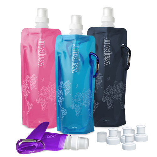 The Vapur Anti-Bottle reusable water bottle just launched in Canada. Vapur will hopefully help the growing issue of disposable plastic water bottles by offering a reusable, eco-friendly option. The biggest difference between the Vapur and traditional reusable bottles is that Vapur is flexible, stands upright when full and can be rolled, folded or flattened when empty, easily fitting into purses, briefcases and even pockets. (via Vapur Anti-Bottle | Design Milk)