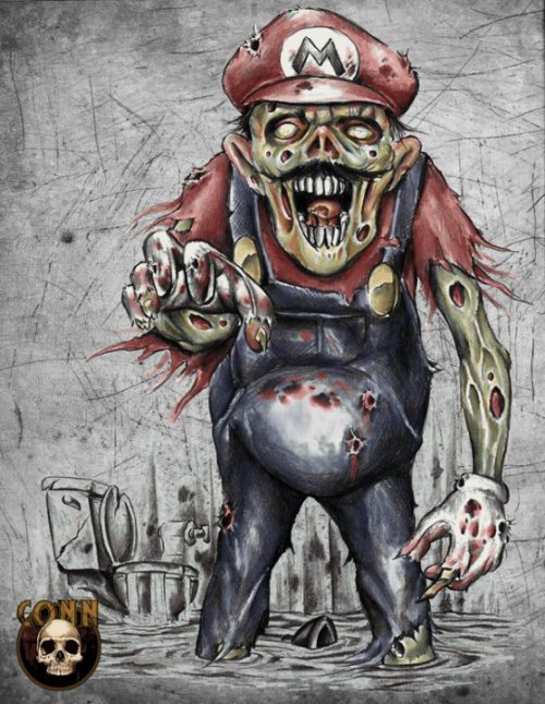 Zombie Mario is on the loose and he wants to have a word with you… I'm a big fan of Shawn  Conn's work and, I must say, this is stellar. Buy this shirt design at RedBubble for $24. Return of the Living Dead Plumber by Shawn  Conn (Facebook)   (Twitter) (RedBubble)