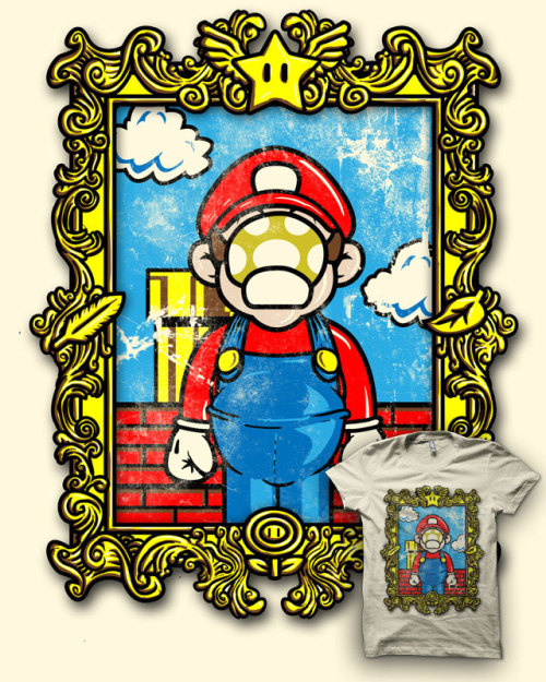 "justinrampage:  Mario is playing the part of artist René Magritte's famous painting, ""the Son of Man"". A little old school mashed up with a little… old school! Vote it up at Threadlessto see it printed. The Son of Manio by Jonah Block/Biotwist (deviantART) (Flickr) (Twitter)"