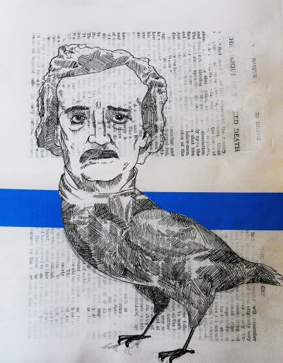Edgar Allan Poe/Raven hybrid. Backtracking a bit now, development piece for the curiosities brief.