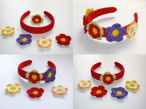 http://hegemony77.etsy.com Red Headband and Colorful Hair Bow Clips, Easily Variable, One Of A Kind, Fits All, Hand-Crafted