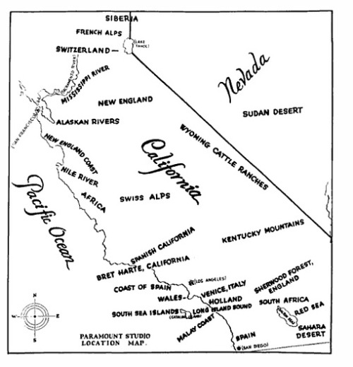 Paramount Studios Map Of California [PIC] | BuzzFeed From 1927: a map detailing all the places that could geographically pass for more exotic places in a movie. Who knew that Sherwood Forest was so topographically unique?