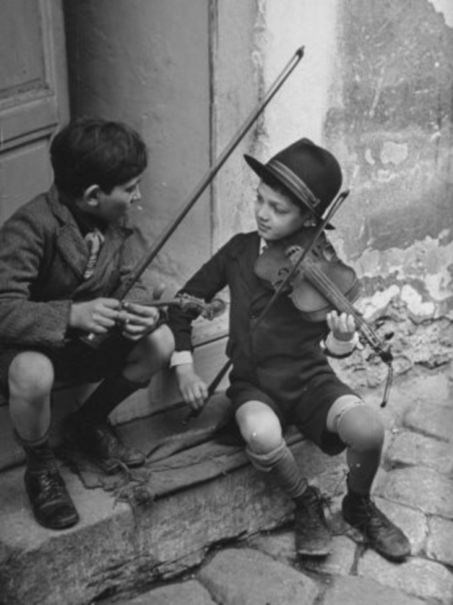 Gypsy Children Playing Violin in Street photo by William Vandivert