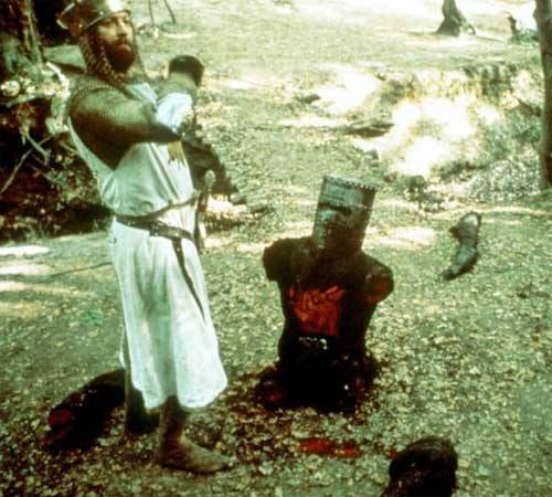 Day 25: The Most Hilarious Movie You've Ever Seen (Part 2) Monty Python & the Holy Grail This movie sits quite happily in my five favorite movies of all time. That is how much I love it. There is no way you can watch Monty Python & the Holy Grail and NOT laugh your head off. It's just so brilliant! I love the tongue-in-cheek elements, as well as the more obvious incidences of hilarity. This is the spoof to which all other spoofs should be compared. It's timeless, classic, and even a Broadway musical (which is, likewise, hilarious). I can quote most of the Knights Who Say Ni scene perfectly, and just love this entire movie on the whole. I can never not laugh and be merry whilst watching this movie. If you haven't seen it, your life is sorely lacking and you should probably go out and rent it.